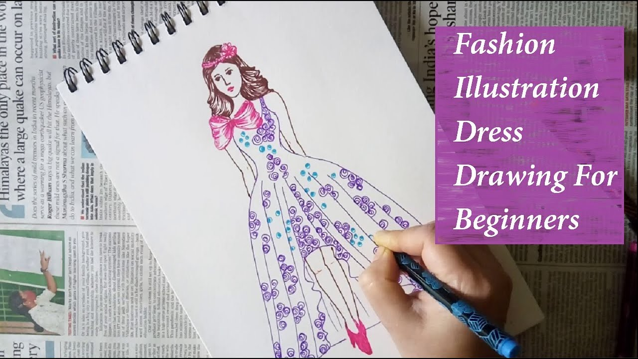 How To Draw A Girl In Bridal Dress Beautiful Wedding Dress For Girls Watercolor Painting Easy Youtube
