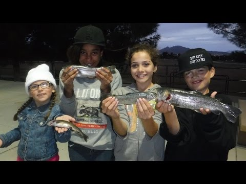 Fishing For Trout: Kids Catching A Few Rainbow Trout At Sunset Park Pond, Las Vegas NV