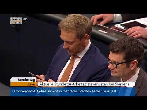Aktuelle Stunde zu Arbeitsplatzverlusten bei Siemens im Deutschen Bundestag am 21.11.17