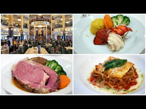 Cruise Ship Dining Room Food - Dinner By Royal Caribbean (4K)