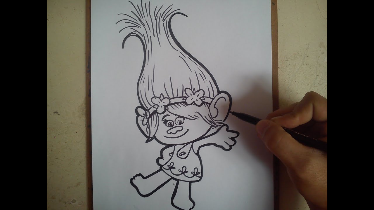 como dibujar a la princesa poppy trolls how to draw poppy