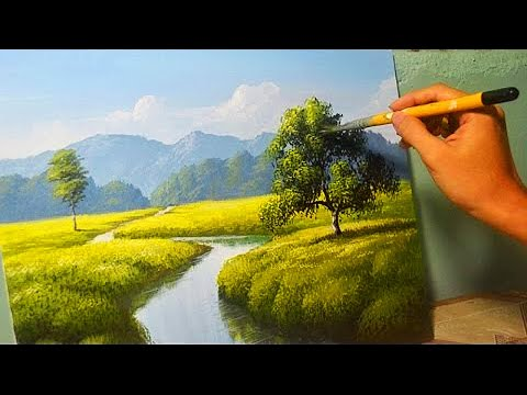Acrylic Landscape Painting Lesson – The River by JM Lisondra