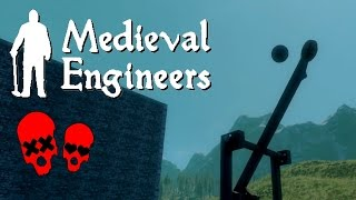 Building Vader Hall Part 2/attempting Catapults | Medieval Engineers