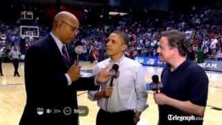 David Cameron and Barack Obama enjoy 'fast and furious' basketball game in Ohio