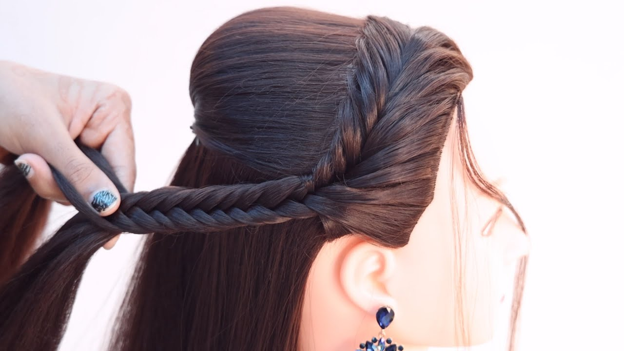 2 pretty hairstyle for reception look   hairstyle for lehenga   wedding hairstyle   fishtail braid