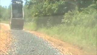 Dump truck spreading Slag