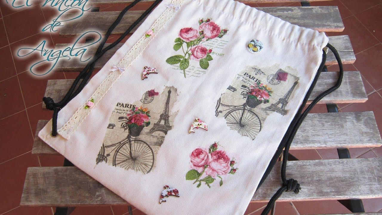 Decoupage en tela como decorar una mochila con decoupage - Decorar muebles con tela ...