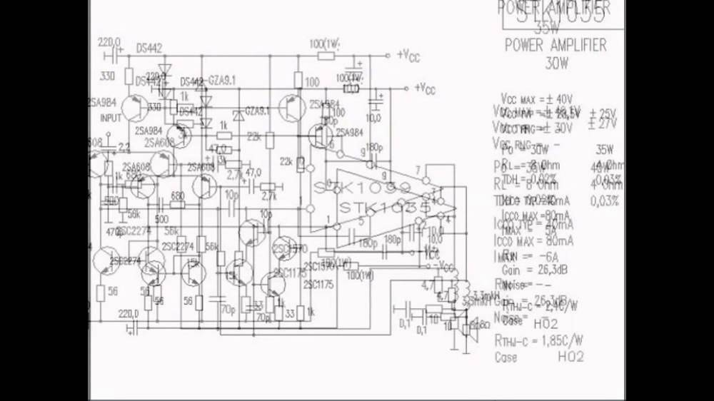 stk stk392 stk795 audio power amplifier vtr amplifier