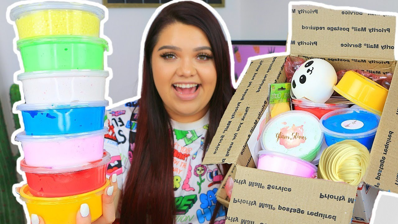 HUGE SLIME PACKAGE REVIEW! Famous Etsy Slime Shops! GLITTER SLIMES,  SLIMEEDADDY, & MORE