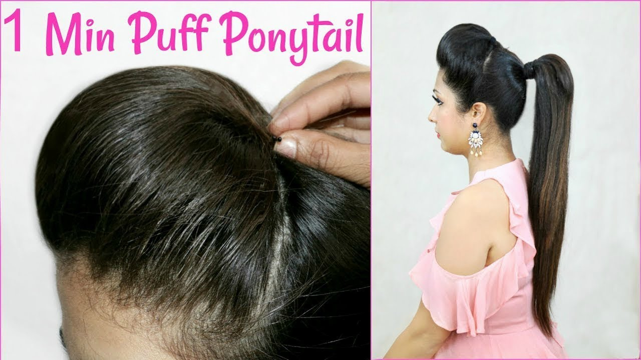 High Ponytail With Puff Hairstyle Easy Heatless Everyday