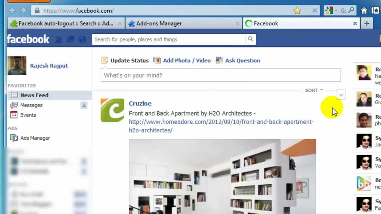 Enable Facebook Auto Logout Feature With Firefox Addon