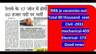 RRB JE vacancies  out || good news for technical and non tech. Student 2017 Video