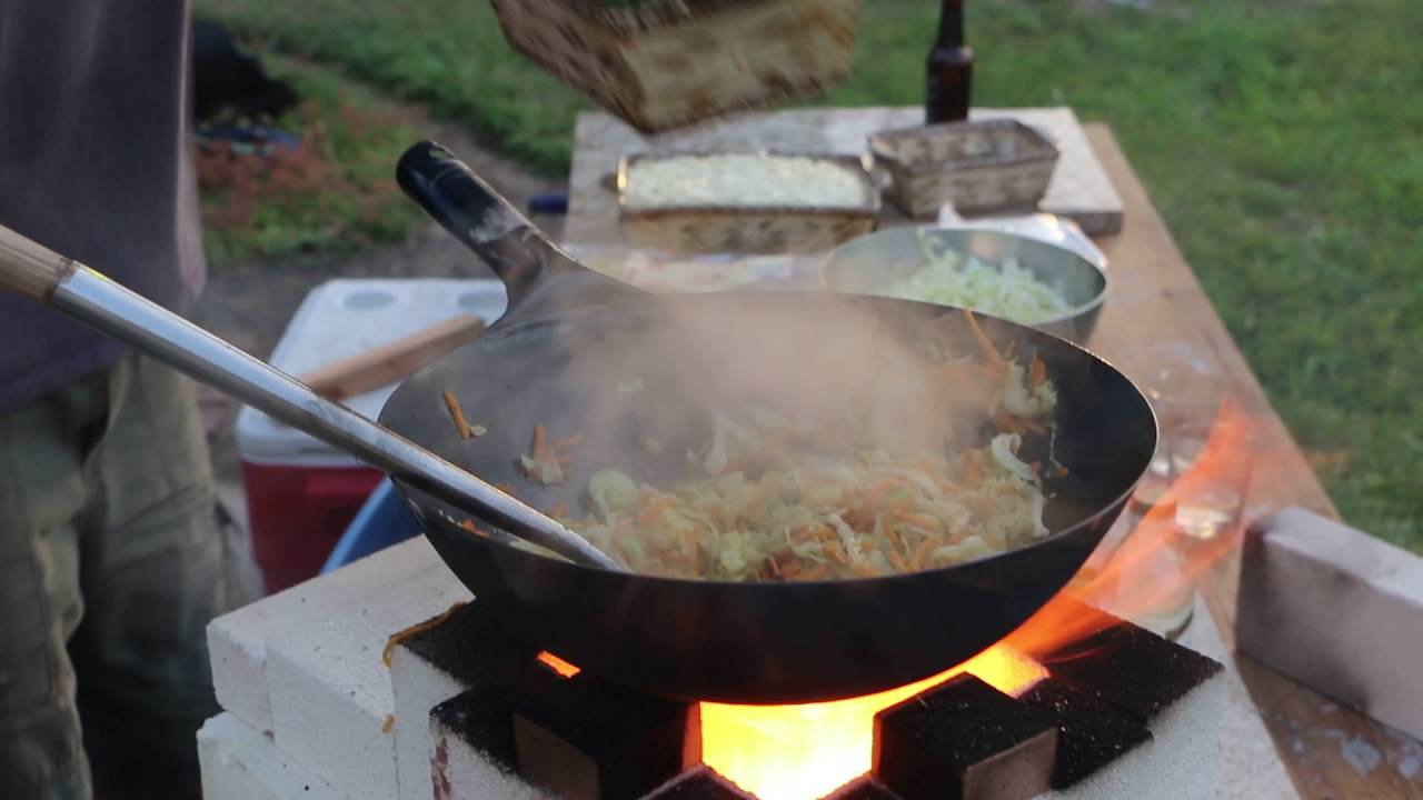 Making A Burner For Cooker ~ Max making yakisoba on wood fired rocket stove the wok et