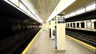BMT Subway: R68A (B) Express and R160 (Q) Local at Church Avenue @ NIGHT