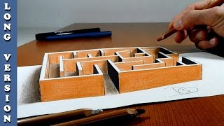 Try to do 3D Trick Art on Paper , Maze, Long version