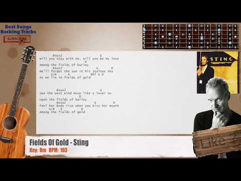 Fields Of Gold - Sting Guitar Backing Track With Chords And Lyrics