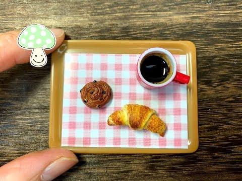 【Resin clay】 Mini Croissant making in Miniature kitchen♡Kawaii
