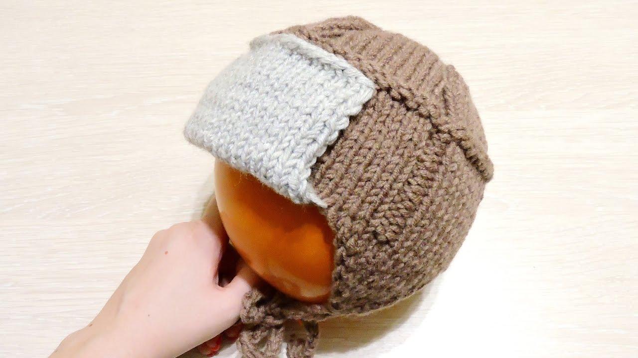 Детская шапка ушанка спицами схема фото 17