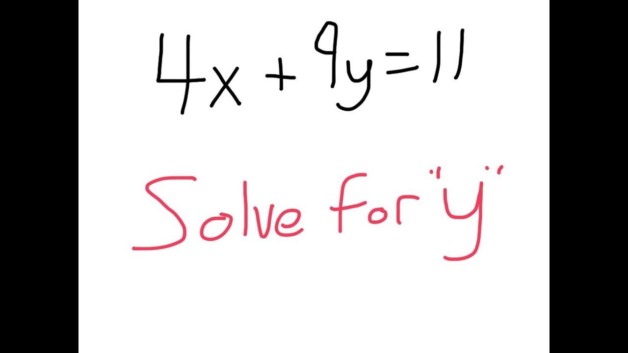 Solve For Y Slope Intercept Form Youtube