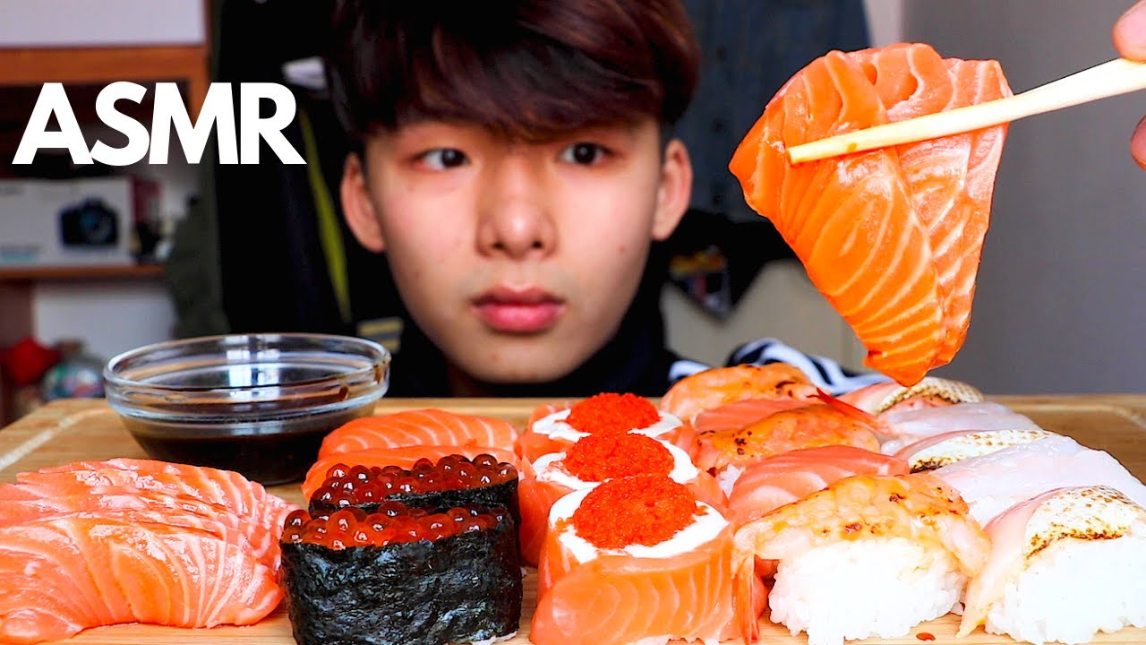 ASMR SALMON SUSHI SASHIMI ???? (Eating Sound) | MAR ASMR