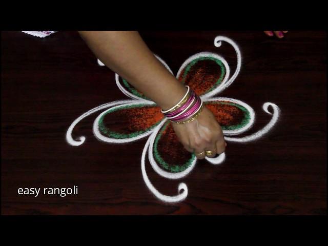 Simple & Cute color kolam by easy rangoli Suneetha - new muggulu
