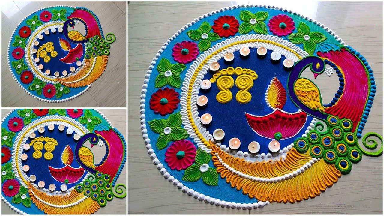 big attractive peacock rangoli designs for diwali2020/satisfyingrangolivideo/sand art