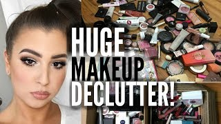 ORGANIZE AND DECLUTTER MY MAKEUP COLLECTION! | Carly Humbert thumbnail