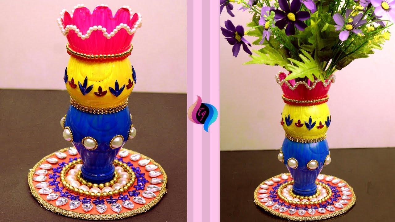 Plastic Bottle Craft Idea Empty Plastic Bottle Vase Making Craft Recycled Plastic Bottle