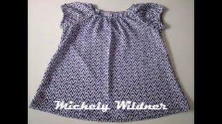 Vestido infantil com manga fofa fácil com molde de 6 meses a 24 meses