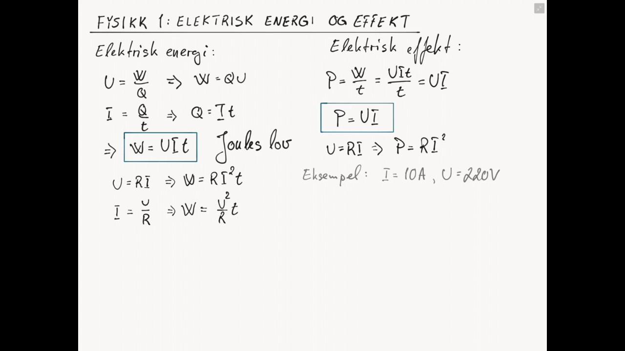 elektrisk effekt formel
