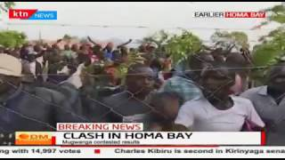 Residents of Homa Bay react to the announcement of nominee Cyprian Awiti as winner for ODM ticket
