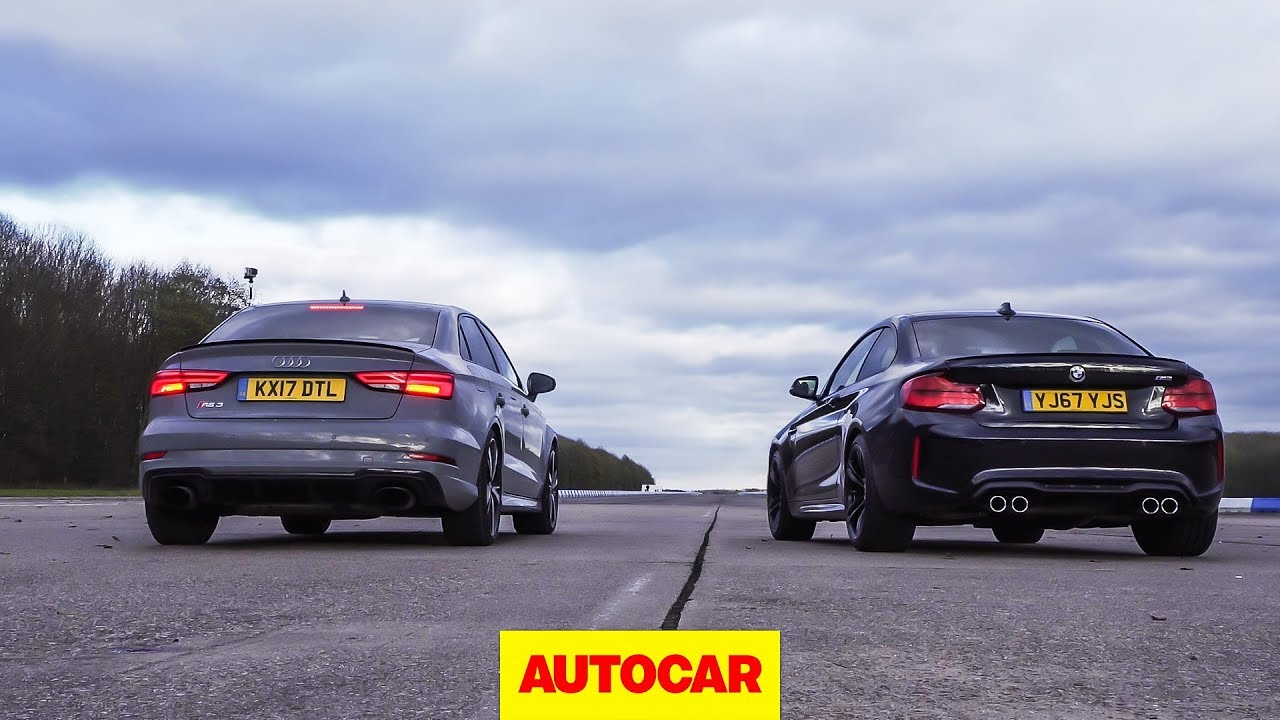 drag race: audi rs3 vs bmw m2, rolling race | what's the fastest
