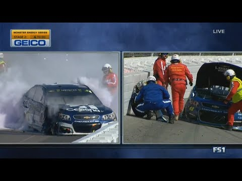Monster Energy NASCAR Cup Series 2017. Pocono 400. Jimmie Johnson & Jamie McMurray Hard Crashes