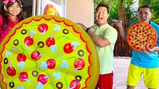 Download Emma Pretend Play w/ Giant Pizza Fast Food Drive Thru Food Toys Mp3 and Videos