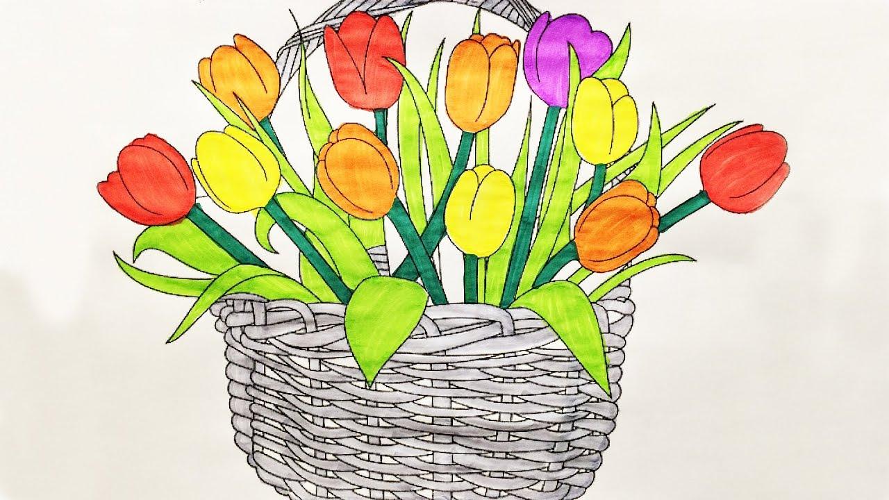С 8 марта как нарисовать открытку маме на 8 марта