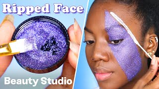 THIS PURPLE GLITTER RIPPED FACE BY SAFAI KELLY IS EVERYTHING YOU COULD EVER ASK FOR