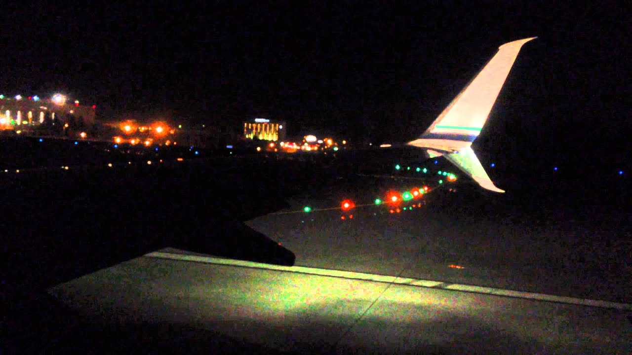 Airplane Night Time Takeoff
