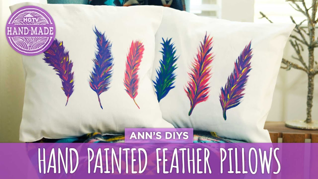 Diy Painted Pillow Cases: DIY Hand Painted Feather Pillows   HGTV Handmade   YouTube,