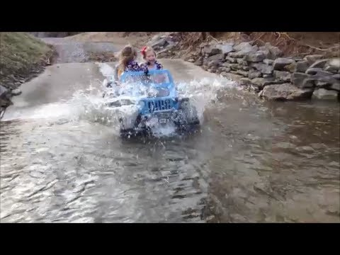 18 Volt Custom Power Wheels Jeep Hurricane Creek Crossing Fun - Modified Power Wheels Mudding