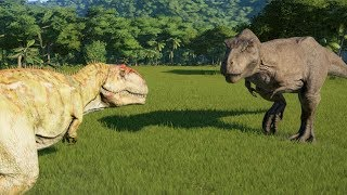 Giganotosaurus VS T-Rex, I-Rex, I-Raptor, Spinosaurus and Carnotaurus - Jurassic World Evolution