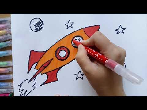 Как нарисовать ракету в космосе