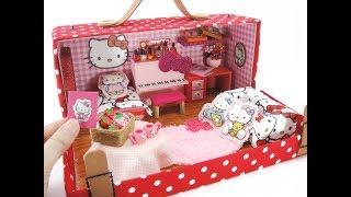 DIY Miniature Dollhouse Bedroom Hello Kitty [SHOE BOX]