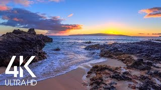 8 HOURS of Fascinating Sunset over the Tropical Beach with Calming Waves Sounds (4K UHD)