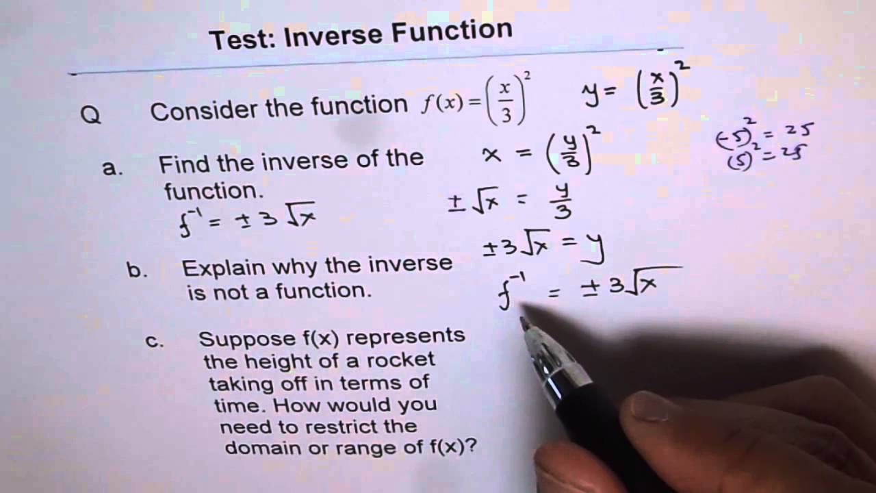 How To Find Inverse Of Quadratic Function 6 Domain And Range
