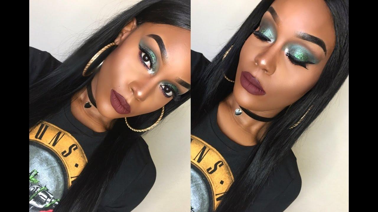 Green Glitter Glam Makeup For Black Women Youtube