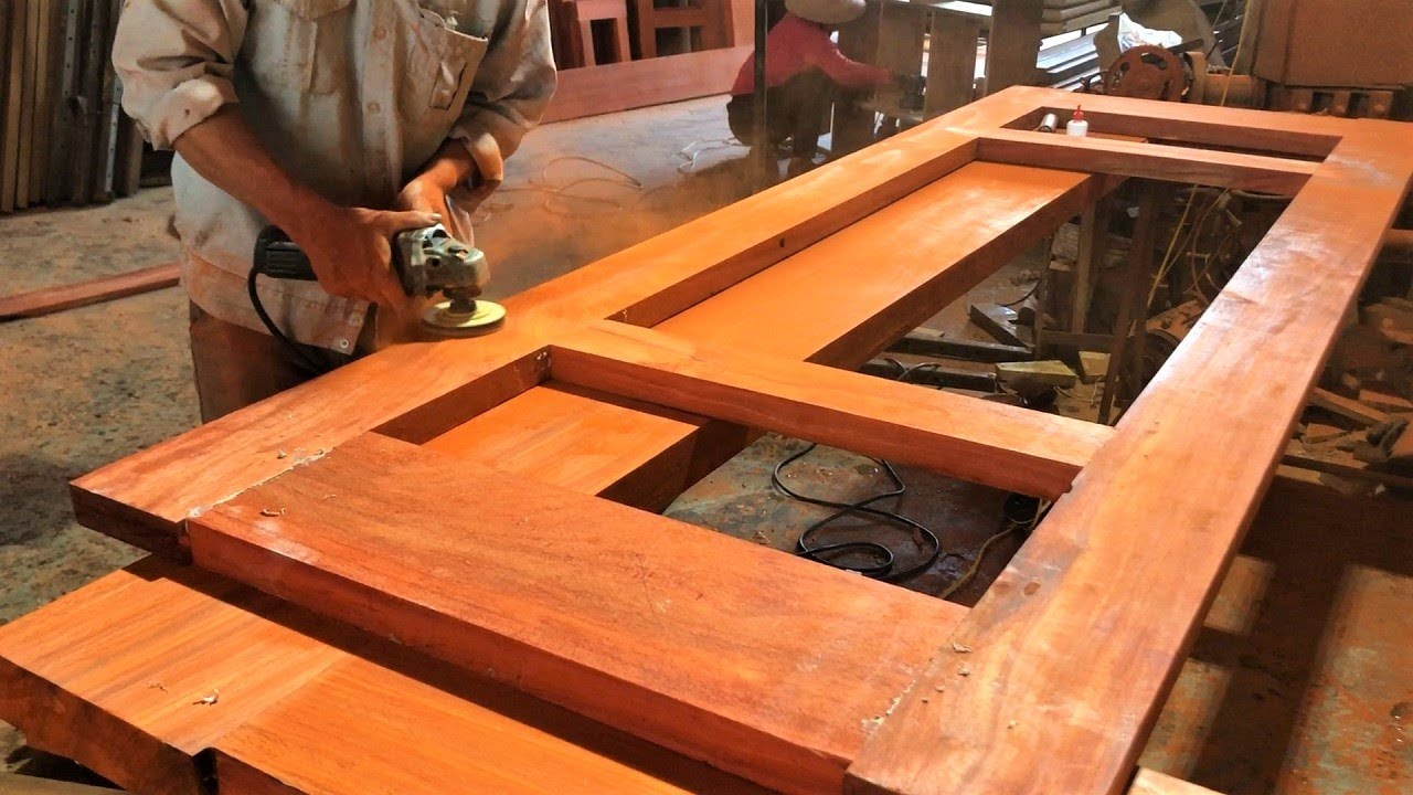 Woodworking Workers and Projects Red Hardwood // Skillful Carpenters in Design Wooden Bed Room Door