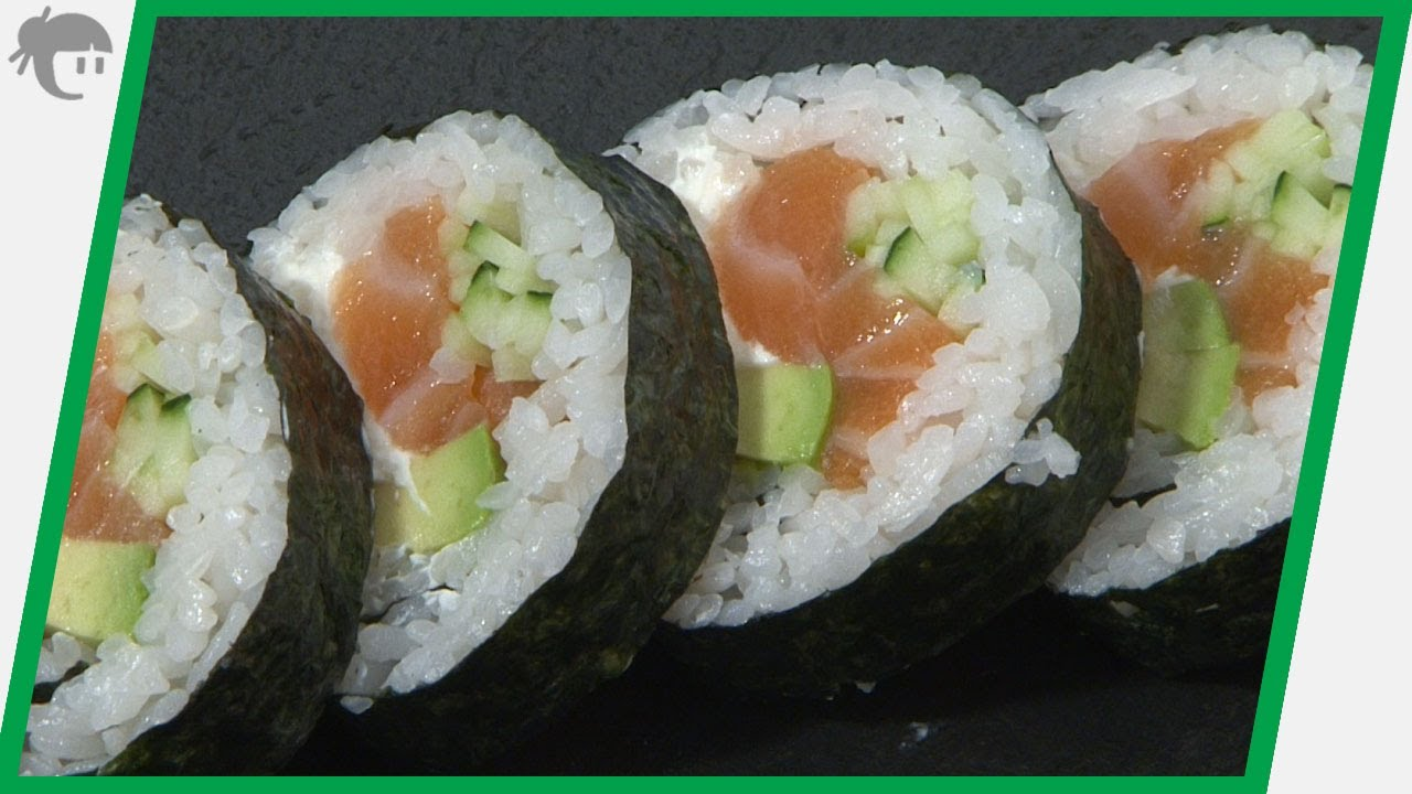 Video receta como preparar maki con queso philadelphia for Como cocinar salmon