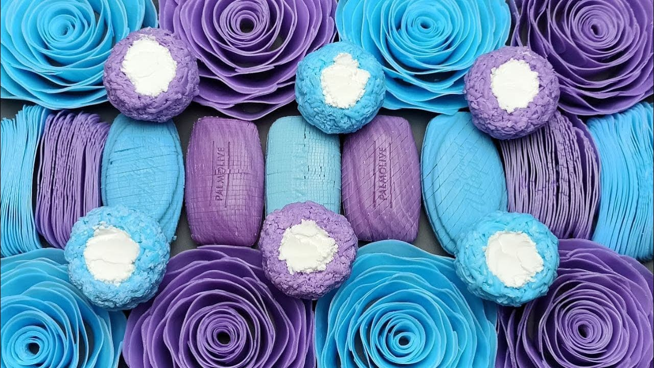 ASMR Soap💙💜Soap balls with starch💙Cutting soap cubes💜Crushing  soap roses💙Soap plates💜ASMR Jabón