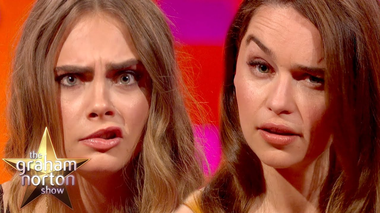 Cara Delevingne And Emilia Clarke Have An Eyebrow Off The Graham