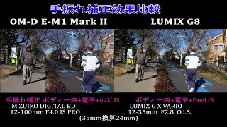 OLYMPUS OM-D E-M1 Mark II VS LUMIX G8 (G80/G81/G85) Stabilization Test Comparison  5軸手振れ補正効果比較